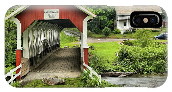 Somerset County iPhone Case - Barronvale Covered Bridge Landcape by Adam Jewell