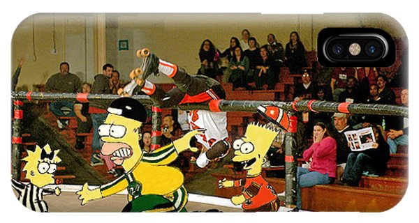 Bart Vs Homer Simpson At The Roller Derby IPhone Case