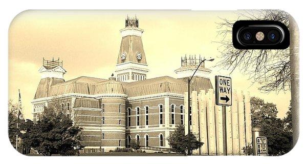 Bartholomew County Courthouse Columbus Indiana - Sepia IPhone Case