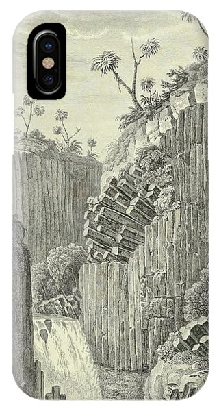 Basalt iPhone Case - Basalt Rocks And The Cascade De Regla, by Alexander von Humboldt