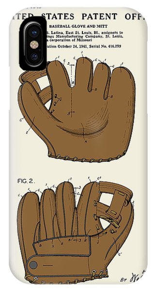 Baseball Glove Patent - Colour IPhone Case