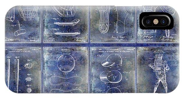 Baseball Patent History Blue IPhone Case