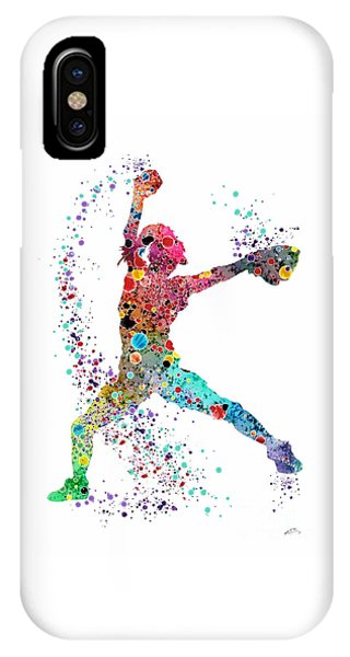 Baseball Softball Pitcher Watercolor Print IPhone Case