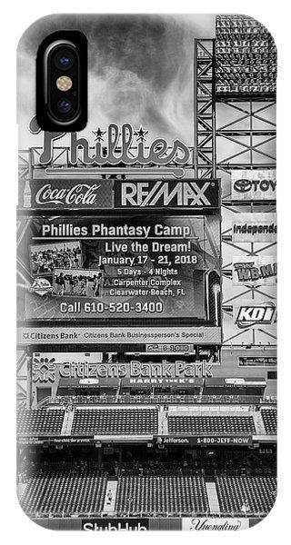 Philadelphia Phillies Stadium iPhone Case - Baseball Time In Philly - Bw by Stephen Stookey