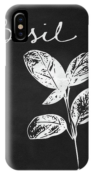 Leaf iPhone Case - Basil Black And White- Art By Linda Woods by Linda Woods