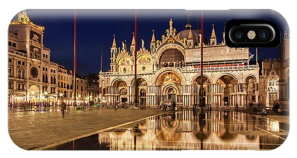 IPhone Case featuring the photograph Basilica San Marco Reflections At Night - Venice, Italy by Barry O Carroll
