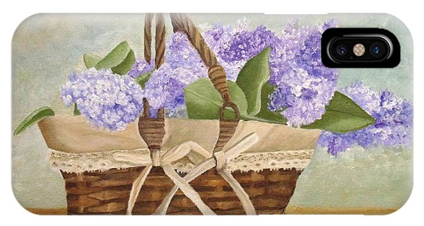 IPhone Case featuring the painting Basket Of Lilacs by Angeles M Pomata