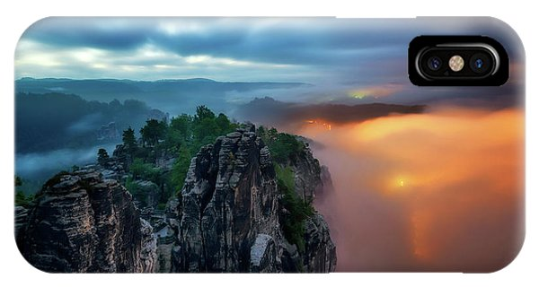 Bastei Bridge Night View, Saxon Switzerland, Germany IPhone Case