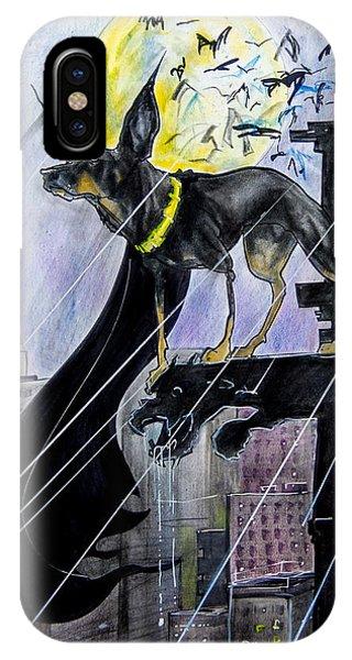 Caricature iPhone Case - Bat-dog Caricature  by John LaFree