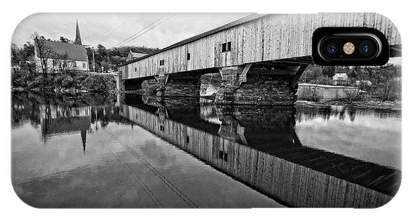 Covered Bridge iPhone Case - Bath Covered Bridge New Hampshire Black And White by Edward Fielding