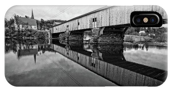Bath Covered Bridge New Hampshire Black And White IPhone Case