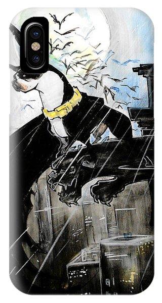 Caricature iPhone Case - Batman Boston Terrier Caricature Art Print by John LaFree