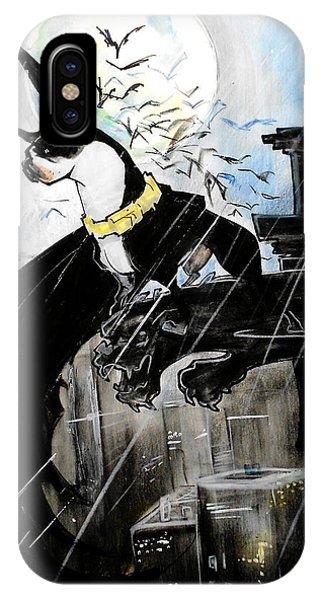 Batman Boston Terrier Caricature Art Print IPhone Case