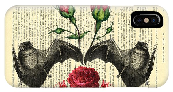Floral iPhone X Case - Bats With Angelic Roses by Madame Memento