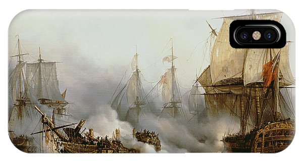 Boats iPhone Case - Battle Of Trafalgar by Louis Philippe Crepin
