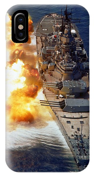 Battleship Uss Iowa Firing Its Mark 7 IPhone Case