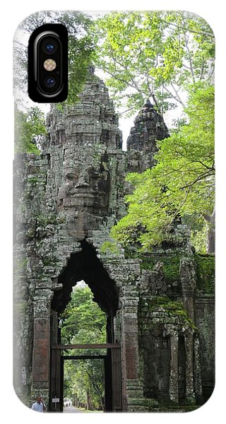 Cambodia iPhone Case - Bayon Gate by Marion Galt