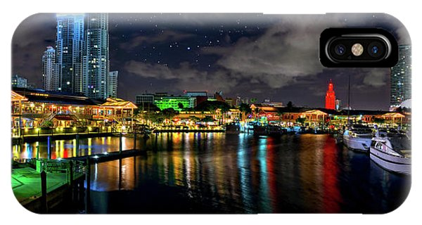 Bayside Miami Florida At Night Under The Stars IPhone Case