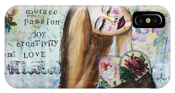Be Brave Inspirational Mixed Media Folk Art IPhone Case