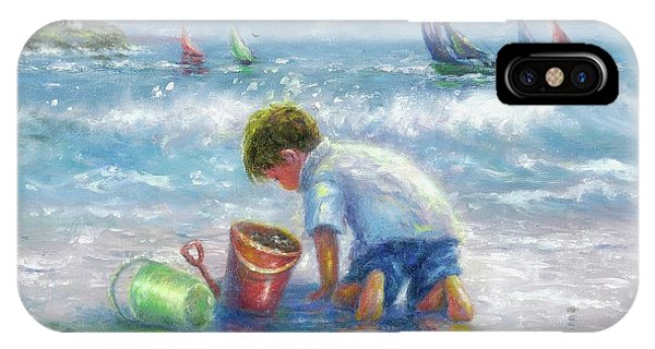 Lighthouse Wall Decor iPhone Case - Beach Boy Sand And Sailboats by Vickie Wade
