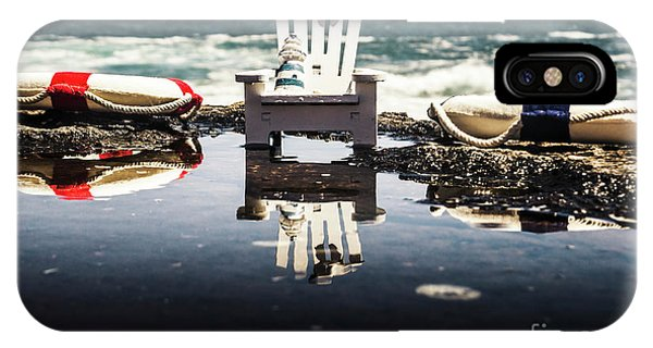 Beach Chair iPhone Case - Beach Chairs And Rock Pools by Jorgo Photography - Wall Art Gallery