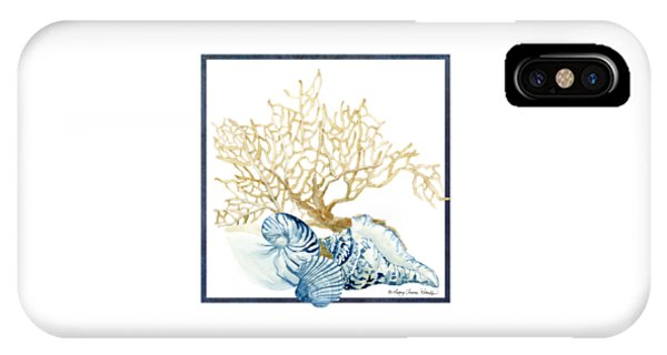 Beach House Nautilus Scallop N Conch With Tan Fan Coral IPhone Case