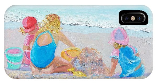Beach Painting - Building Sandcastles IPhone Case