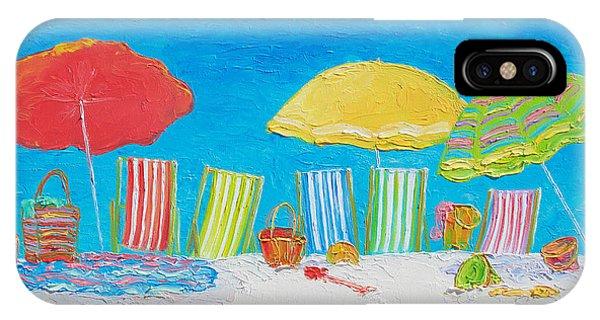 Beach Chair iPhone Case - Beach Painting - Deck Chairs by Jan Matson
