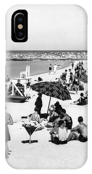 Cape Cod iPhone Case - Beach Scene At Cape Cod by Underwood Archives