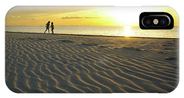 Beach Silhouettes And Sand Ripples At Sunset IPhone Case