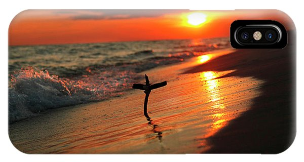 Beach Sunset And Cross IPhone Case