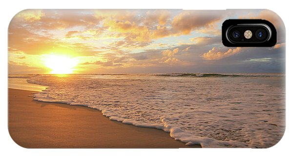 Beach Sunset With Golden Clouds IPhone Case