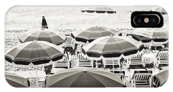 French Riviera iPhone Case - Beach Umbrellas In Nice by Elena Elisseeva