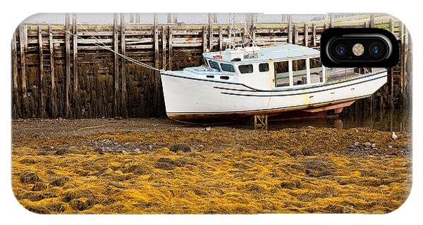 Beached Boat During Low Tide In Nova Scotia Canada IPhone Case