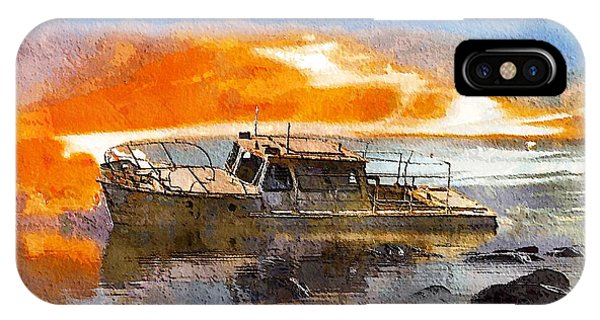 IPhone Case featuring the painting Beached Wreck by Mark Taylor