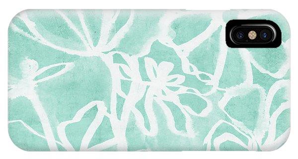 Aqua iPhone Case - Beachglass And White Flowers 2- Art By Linda Woods by Linda Woods