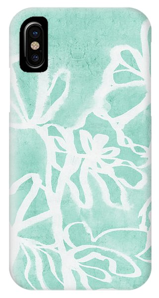 Aqua iPhone Case - Beachglass And White Flowers 2- Art By Linda Woods by Linda Woods