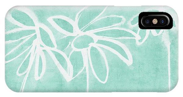 Aqua iPhone Case - Beachglass And White Flowers 3- Art By Linda Woods by Linda Woods
