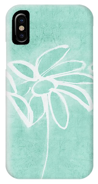 Aqua iPhone Case - Beachglass And White Flowers 3- Art By Linda Woods by Linda Woods