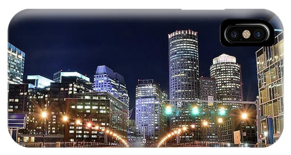 Bean Town iPhone Case - Bean Town Night Pano by Frozen in Time Fine Art Photography