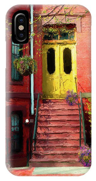 Beantown Brownstone With Yellow Doors IPhone Case