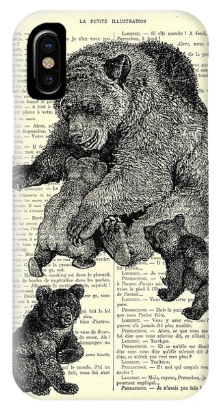 Bear And Cubs Black And White Antique Illustration IPhone Case