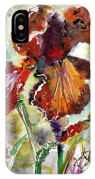 Bearded Iris Brown Sally Watercolor IPhone Case