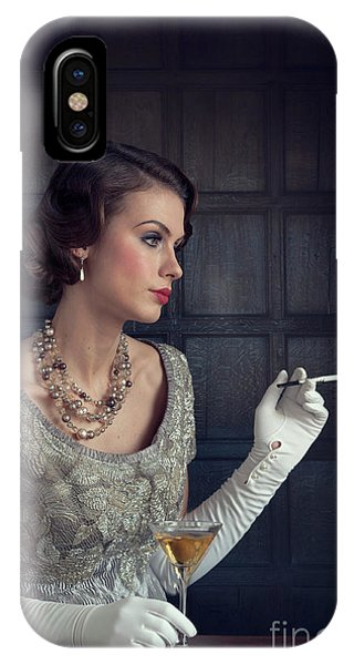 Beautiful 1930s Woman With Cocktail And Cigarette IPhone Case