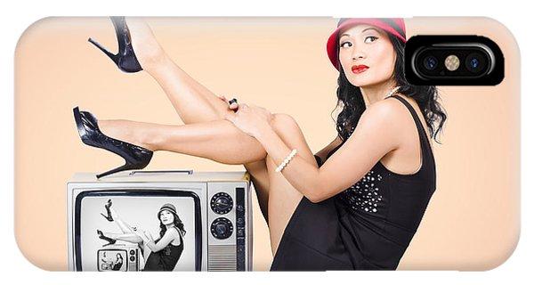 Beautiful Asian Pin Up Girl Posing On Retro Tv Set IPhone Case
