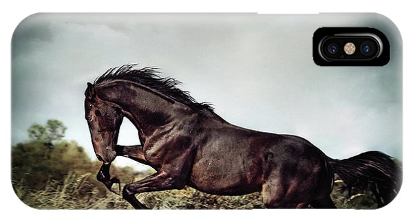 Beautiful Black Stallion Horse Running On The Stormy Sky IPhone Case