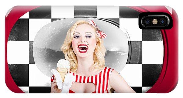 Beautiful Blonde Woman Serving Ice Cream IPhone Case