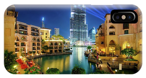 Beautiful Downtown Area In Dubai At Night, Dubai, United Arab Emirates IPhone Case