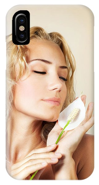 Beautiful Female Holding Calla Flower  IPhone Case