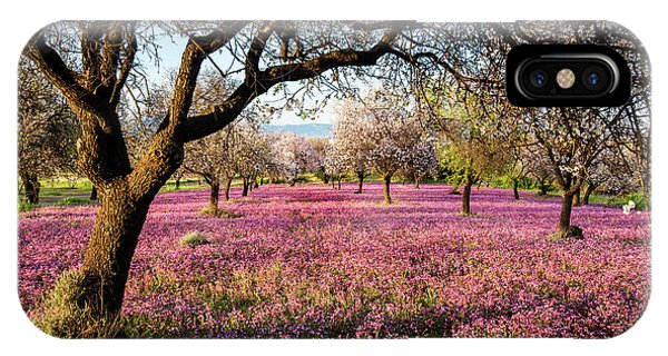 IPhone Case featuring the photograph Beautiful Field With Purple Veil Of Flowers In The Ground. by Michalakis Ppalis